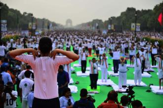 International Yoga Day celebrations at Rajpath, New Delhi, on Thursday. Photo: